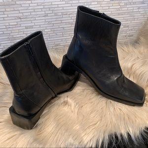 Zara black leather booties